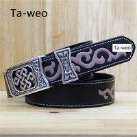 Unisex Belts, Fashion Mongolian waist flower Printed Genuine Leather Belt, Women And Men's Cowhide Leather Belts