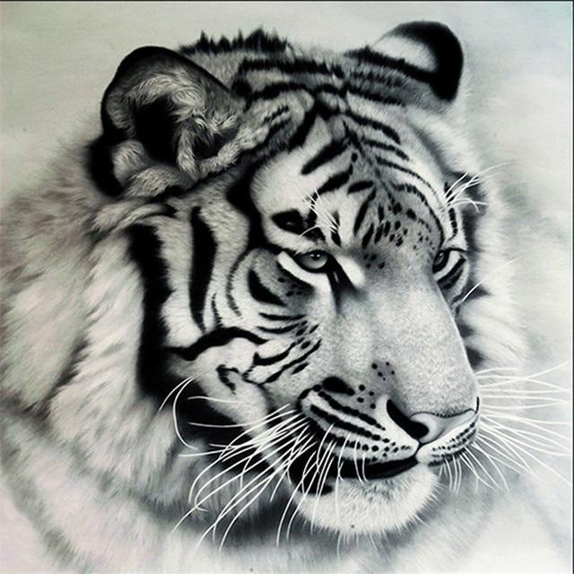 Le Nouveau 5d Diamant Peinture Salon Noir Et Blanc Raye Tigre