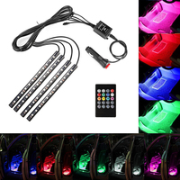 4pcs Car RGB LED Strip Light Music Control LED Strip Lights 8 Colors Car Styling Atmosphere