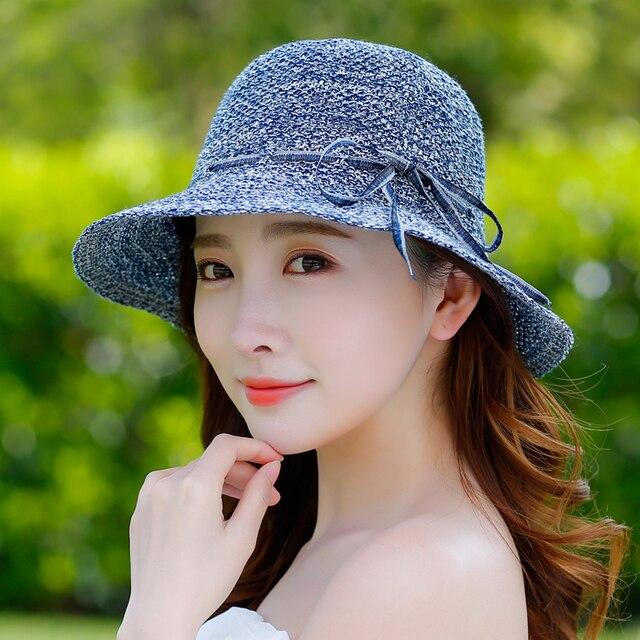 Verano Niña Sombrero para el Sol Ocasional Salvaje Vacaciones de Sombreros  Plegables Anti-Ultravioleta de b9c9f415079
