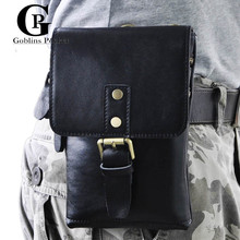 [Goblins Pocket] Leather Sewing Black/Brown Men Bags Waist Pack Leisure Single-Shoulder Small Messenger Bags Cow Leather