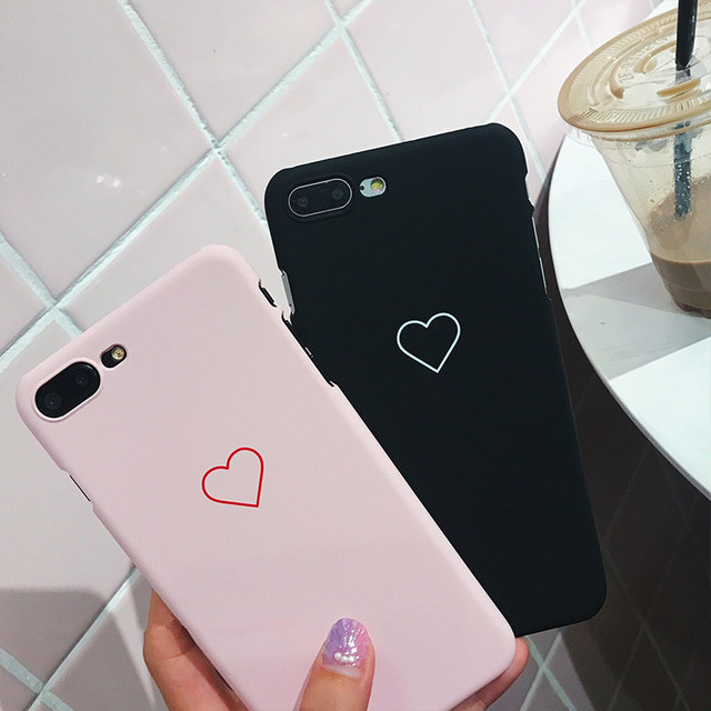 buy online f4e4b d5061 US $1.23 14% OFF|Black Love Heart Phone Case for iPhone X Xs Max XR Cases  Candy Color Hard PC Back Cover for iPhone 5 5S SE 6 6S 7 8 Plus Case-in ...