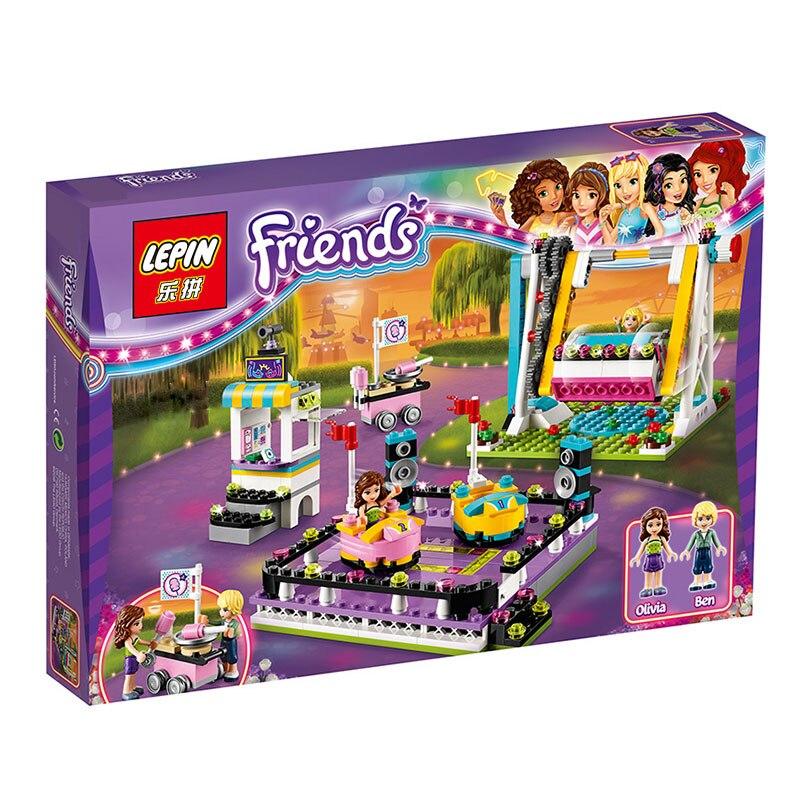 lepin 01009 friends amusement park bumper cars building blocks for girl kids model toys marvel compatible with 41133