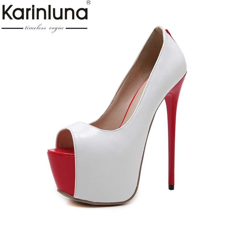 Karinluna 2018 Plus Size 34-40 Peep Toe Women Pumps Woman Slip On Thin High Heels Platform Women Shoes Party Wedding Pumps lapolaka 2018 high quality large size 33 48 slip on thin high heels peep toe shoes woman platform party wedding pump