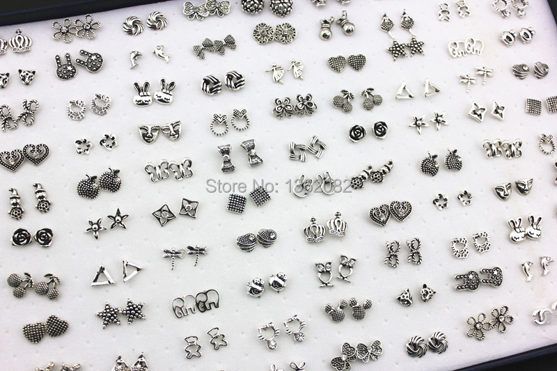 Jewelry Wholesale lot 100 Pairs Mix Styles Animal Cartoon Cat Skull Flower Antique Silver Earrings Girl