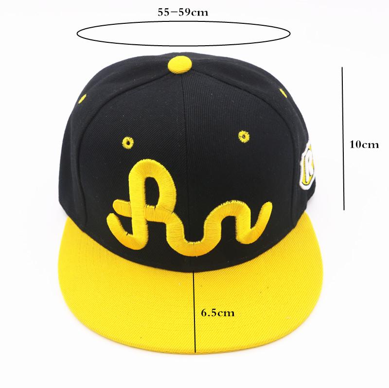 Amarillo negro RUNGorra Casual ajustable hombres y mujeres Hip Hop Snapback  gorras de béisbol 40aeb20e644