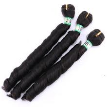 สีดำธรรมชาติ #2 ฤดูใบไม้ผลิ Curly hair bundles 16 20 นิ้วมี 3 ชิ้น/ล็อตสังเคราะห์ทนความร้อนเส้นใยผม
