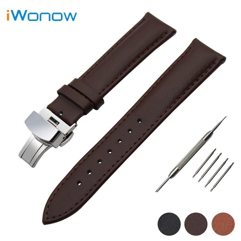 Genuine Leather Watch Band 18mm 20mm for DW Daniel Wellington Butterfly Buckle Strap Wrist Belt Bracelet + Spring Bar + Tool