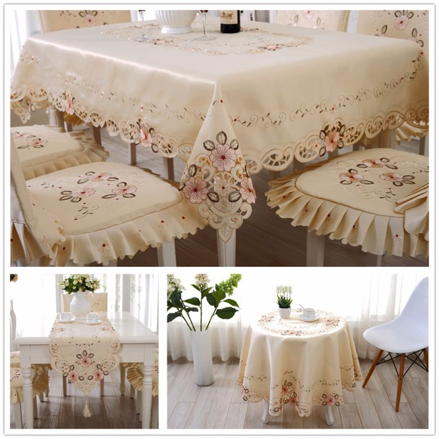 Home Europe Light Coffee Table Slipcovers Decorative Table Cloths Hollowout  Embroidered Slip Covers For Table