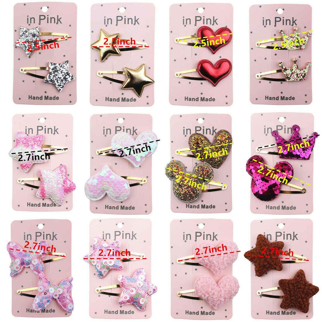 2019 Baby Zubehör Neugeborenen Baby Nette Crown/Herz/StarHeadwear Infant Mini Bogen Haar Clips 2 Pcs Set Haar stilvolle Foto Requisiten