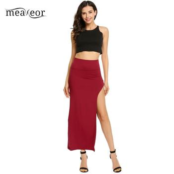 None Package High Elastic Waist Women Hip Full Long Pencil Skirt Asymmetric Backless