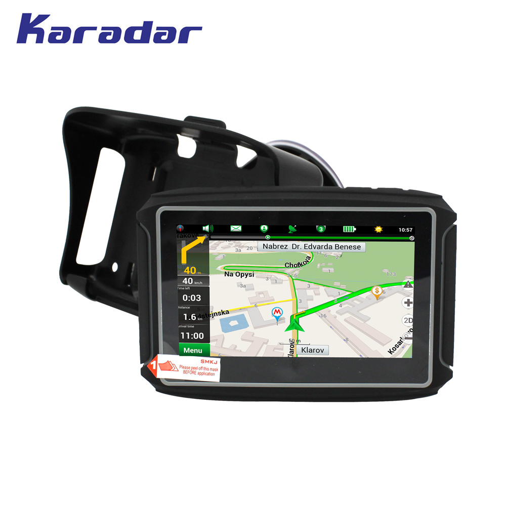 KARADAR Waterproof Motorcycle GPS - 4.3 Inch Win CE 6.0 Car GPS Navigator - Built-in 8GB Flash DDR256 with Map-FM/Bluetooth 5 resistive screen win ce 6 0 car gps navigator w tf fm mic black 128gb multinational