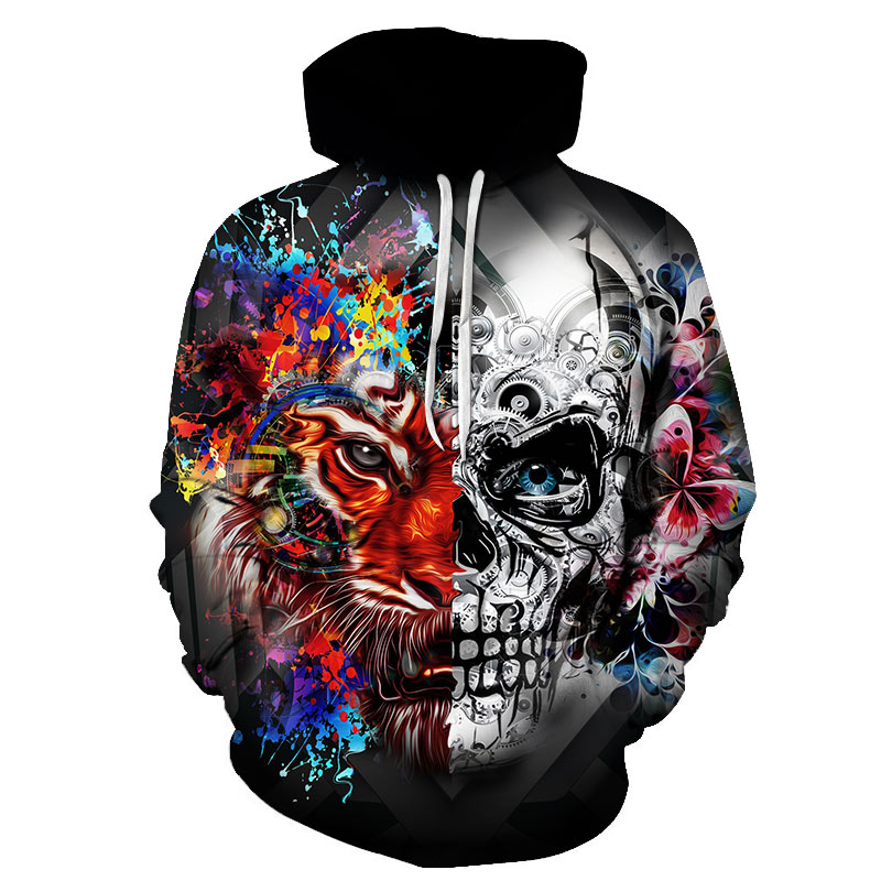 BZPOVB Brand Skull Hoodies Flame Clothing Punk 3d hoodies Rock Sweat shirt Cool Sweatshirts Male Hoodie Men Hip Hop Anime Mens
