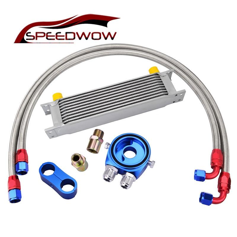 SPEEDWOW 10Row AN10 Engine Transmission Oil Cooler+10AN Oil Adapter Filter+Oil Swivel Fuel Hose line+Seprator Divider Clamp Kit цена