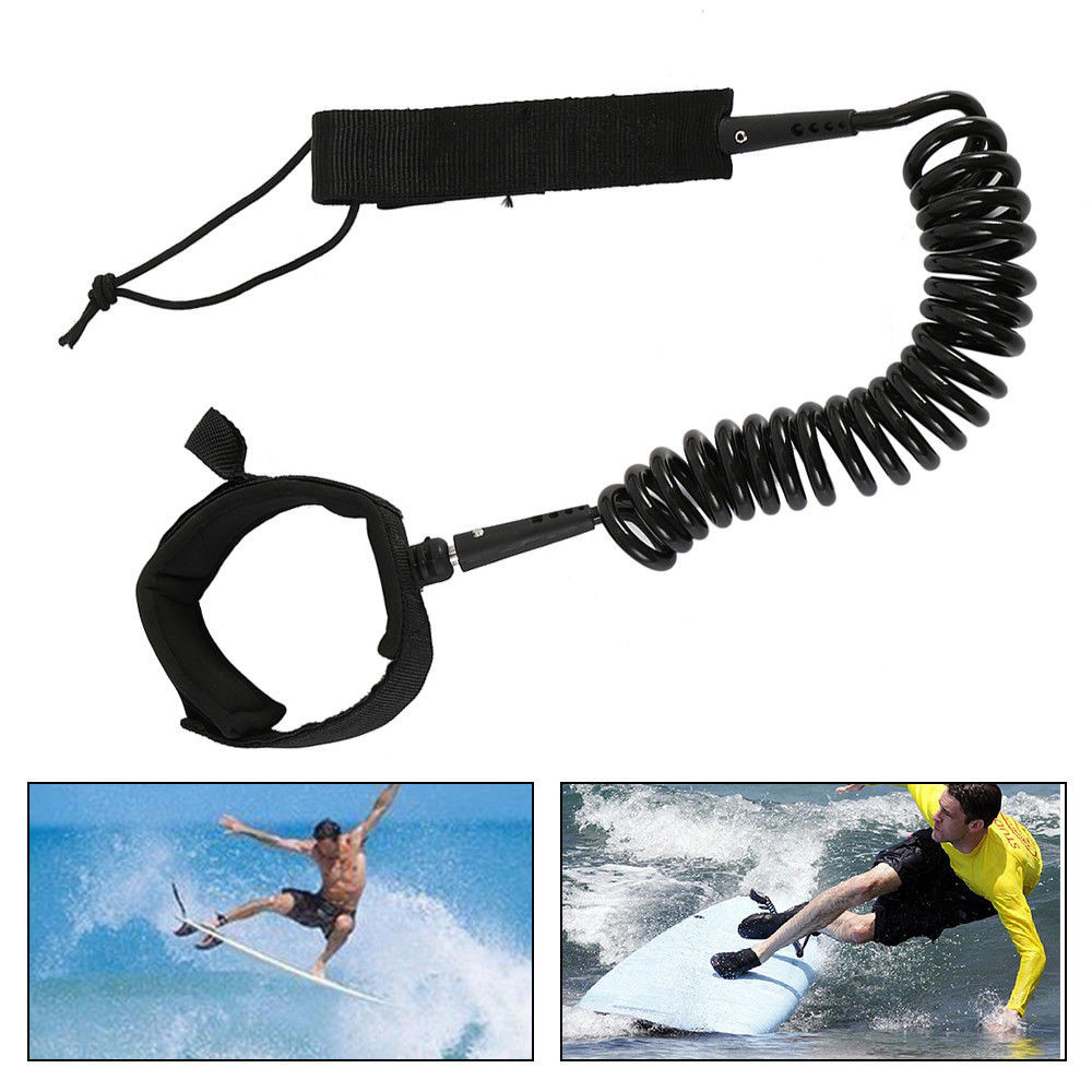 10ft Surfing Cord String Surfboard Ankle Leash Coiled Stand UP Paddle Board