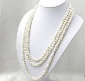 ee59ebf51864 Hermosa 7-8mm blanco collar de perlas cultivadas 65
