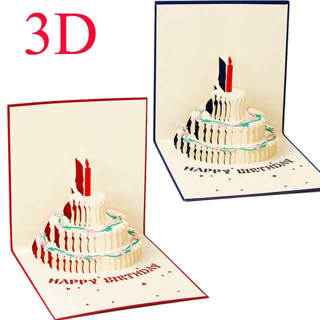 1pc 3d Happy Birthday Invitation Card Handcrafted Origami Cake