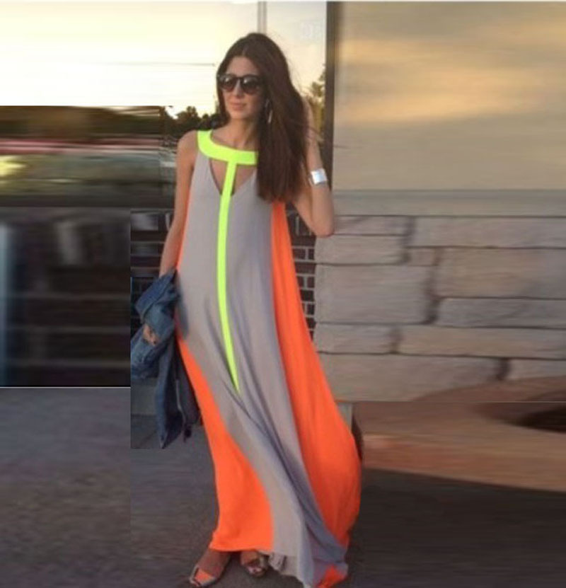 2016 summer colorful dress leisure women robe ropa mujer roupas feminina vetement vestidos robe femme hippie patchwork dresses - Color Block Vetement