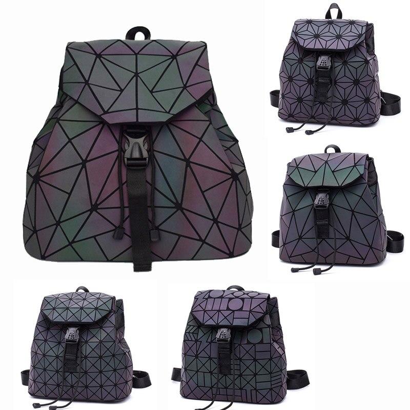 Neue Frauen Rucksäcke Kordelzug Leucht Geometrie Folding Rucksäcke Taschen Weibliche Kleine Schule Taschen Für Teenager Mädchen Mochila