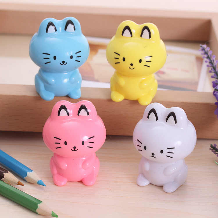 Cute Kawaii Cartoon Cat Plastic Pencil Sharpener Machine For Kids Gift School Supplies Korean Stationery Student 485