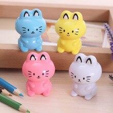 Пластиковая точилка кошка kawaii корейский школьные машина симпатичные принадлежности канцелярские мультфильм