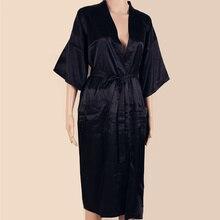 BLACK Mens Robe Hot Sale Faux Silk Kimono Bath Gown Bathrobe Nightgown Sleepwear Hombre Pijama Size S M L XL XXL XXXL ZhM01D