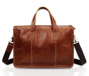 Men's bag  Genuine  leather handbag briefcase cow  leather casual 14″ laptop bag men's retro Messenger bags Briefcases