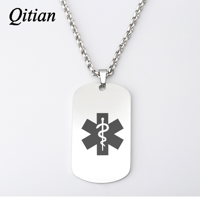 Qitian personalized custom medical alert id necklace army dog tag qitian personalized custom medical alert id necklace army dog tag necklaces pendants men jewelry stainless aloadofball Image collections