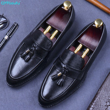 QYFCIOUFU Tassel Men Shoes Luxury Brand Designer Genuine Leather Formal Wedding Dress Oxfords High Quality Derby Flats Shoes