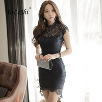YaLiShi 2017 Summer Women Black Lace Dress Short Petal Sleeve Sexy Party Mini Sheath Bodycon Bandage