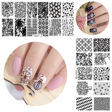 Halloween Nail Art Stamper Plates Flower Pattern Nail Stamping Template Image Plate Stencil Nails Design Beauty Tool Kits