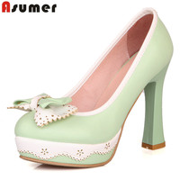 Summer Big Size 34 43 Pu Leather Bowknot High Heels Shoes Black Pink Green Round Toe