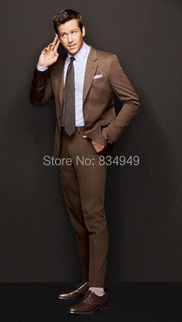 Wedding Suits For Men Brown Custom Made, Bespoke Brown 2 Button Notch Lapel Men Brown Wedding Suit