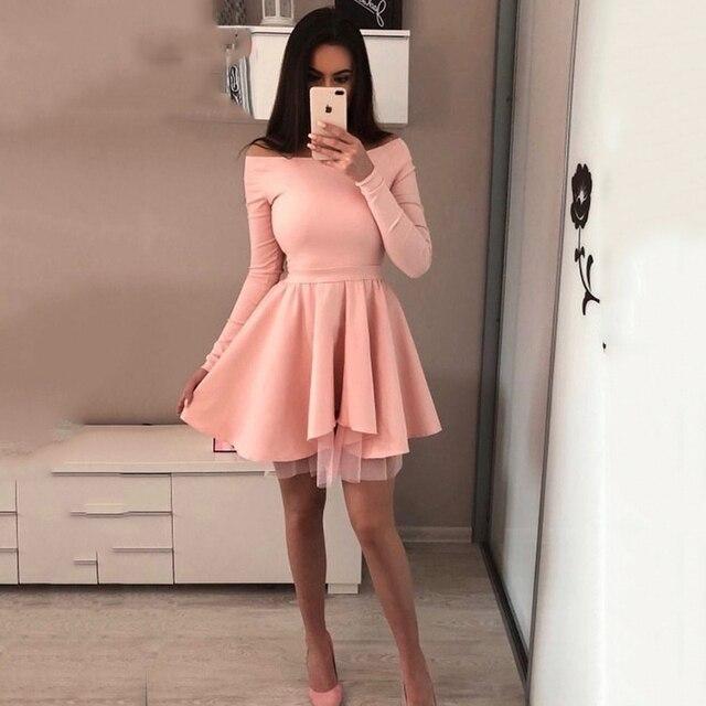 2019 חדש נשים הגעה אביב מזדמן תחרה שמלת מילה אחת צווארון ארוך שרוול חמוד מיני המפלגה שמלת אונליין ורוד אדום שמלות