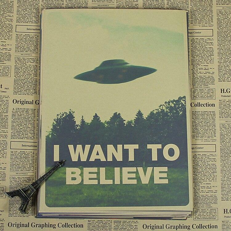 Files I Want To Believe X X File UFO Poster Retro Retro Kraft Paper