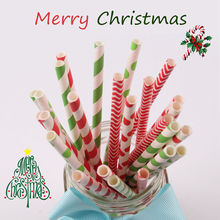 25pcs Paper Drinking Straws Merry Christmas Decoration Supplies Colorful Striped Polka Xmas Party Supplies