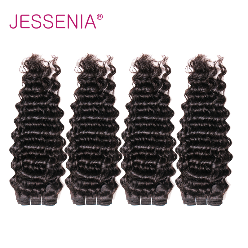 JESSENIA HAIR Deep Wave Indian Hair Bundles Natural Color Four Pcs Weft Remy Hair Suitable Dying All Colors Can Be Permed