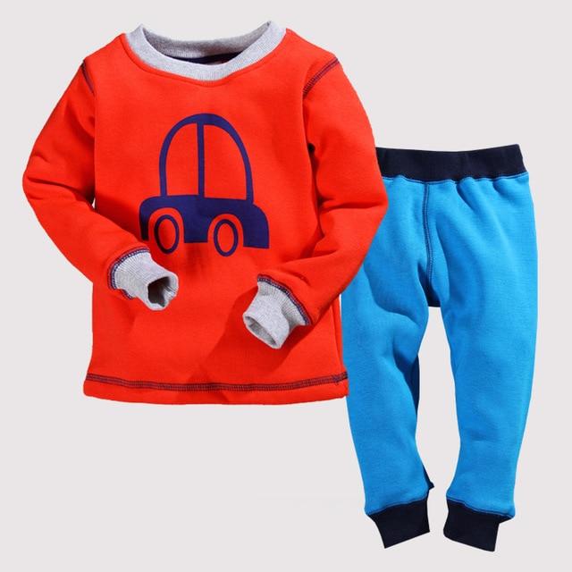 Children Boys Winter Pajama Sets  2pcs Car Cartoon Fleece Warmly Baby Boy Clothing Set Kids Casual Sleep Wear Pyjamas 2t 3t 4t 5