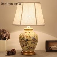 Средиземноморский сад цветок и птица настольная лампа спальня ночники Новый китайский классический цветок резьба настольная лампа
