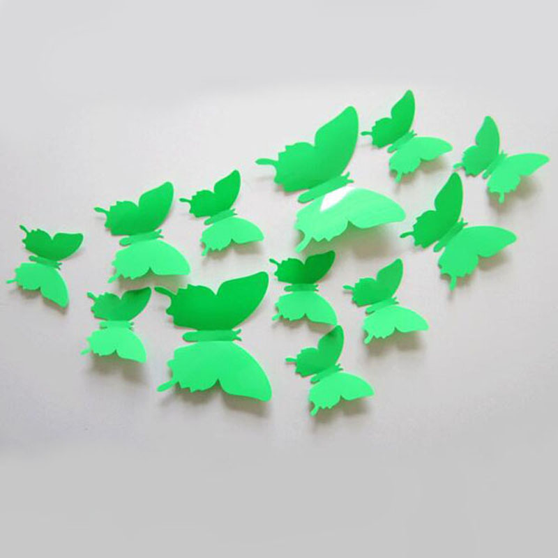 12 Pcs/Pack 3D Cute Butterfly Home Decor Wall Sticker PVC Decoration Solid Color 3D Stickers For The Room Wall Doors VBK25 P53
