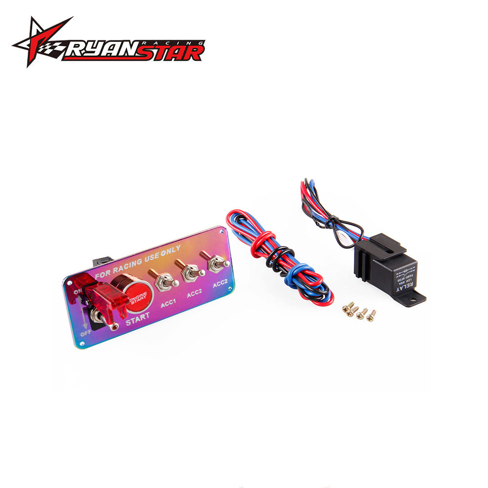 12v Ignition Switch Panel Push Button Start Engine Kit With 3 Is Using A To Power And Momentary Acc Toggles Relay Wire Neo Chrome For Universal Race Car In Switches Relays