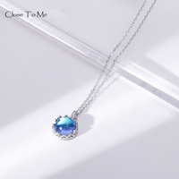 Close To Me Real S925 Silver Pendant Crystal Necklace Blue Dream Island Pendant for Women Elegant Irish Fine Jewelry Women'Gift