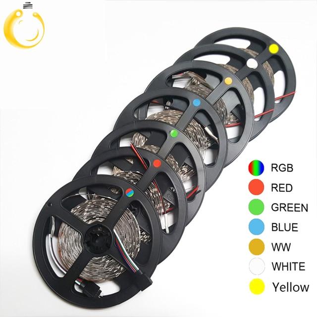 5 м 300 светодиодов не водонепроницаемый RGB Светодиодная лента 3528 DC12V 60 светодиодов/м гибкая светодиодная лента для украшения дома