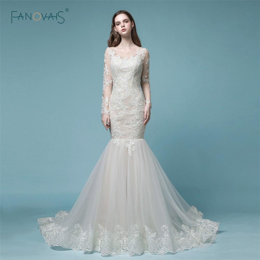 Gorgeous mermaid wedding dresses 2018 long sleeves wedding for Winter mermaid wedding dresses