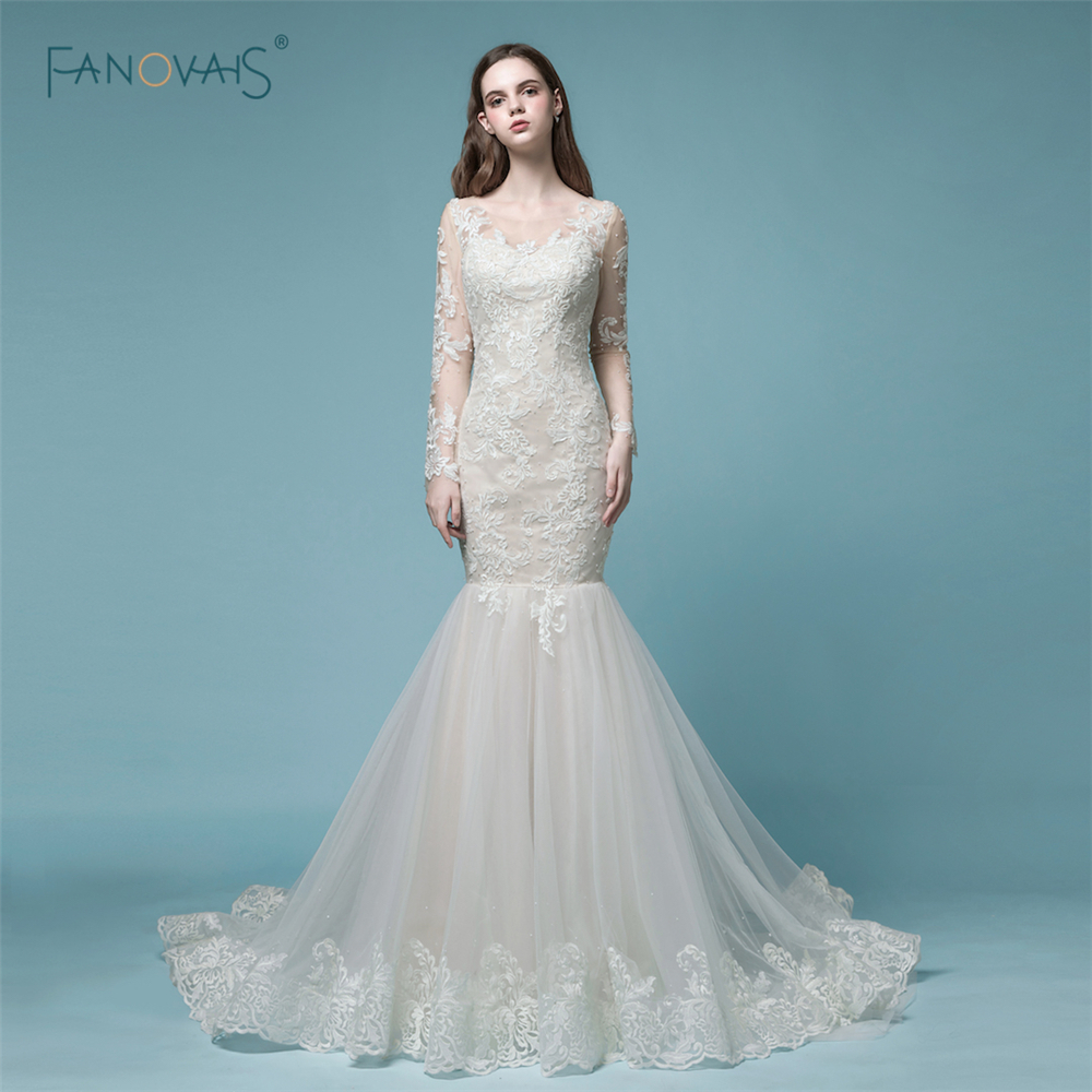 cf1682faa16e Gorgeous Mermaid Wedding Dresses 2019 Long Sleeves Wedding Gown Lace Beaded Winter  Wedding Gown Court Train Bridal Dresses NW8