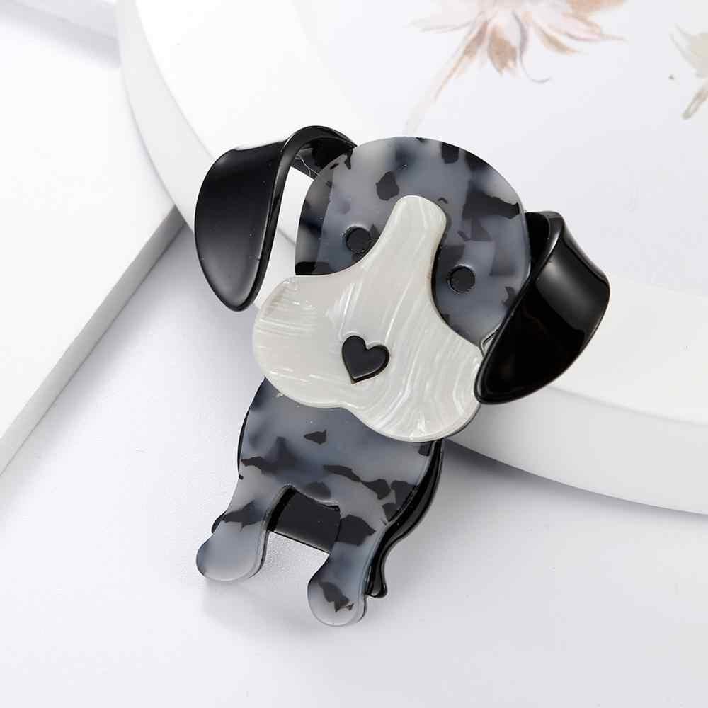 Fishsheep Baru Anjing Yang Indah Bros untuk Wanita Besar Lucu Hewan Anjing Bentuk Bros dan Pin Aksesoris Pakaian Korsase Bros Hadiah