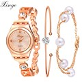 Wrist Watches For Women Luxury Xinge Brand Rose Gold Pearl Crystal Bracelet Watch Female Girl Fashion Electronic Wristwatch