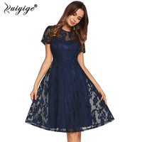 Ruiyige Hollow Out Lace Summer Dress Solid Casual Elegant Midi Party Dresses Women Short Sleeve Tunic Female Vestidos 2018 Robes