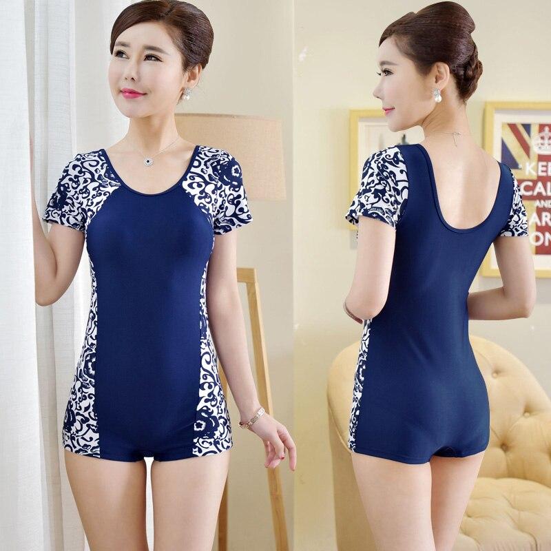 Xl 6xl Women One Piece Swimsuit Short Sleeve Swimwear Cover Belly
