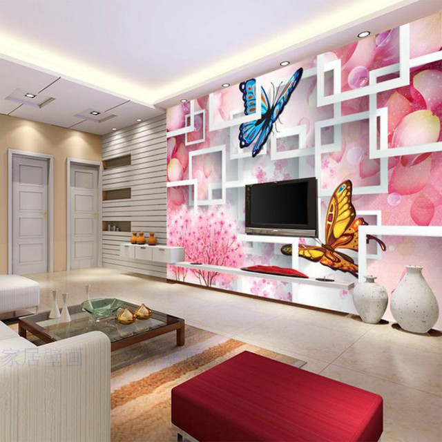 Stylish Wallpaper For Home Custom Warm Stylish Pink Roses Butterfly Living Room Sofa Bedroom